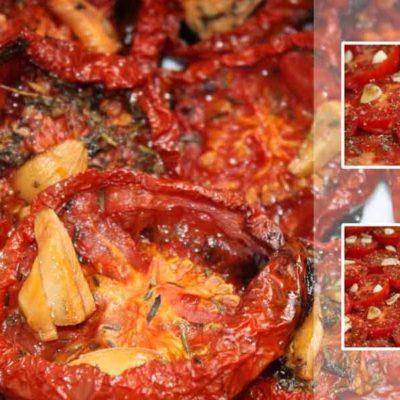 Cepeškrāsnī cepti tomāti ar ķiplokiem un timiānu
